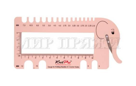 Шкала размеров с резаком для пряжи (розовый) KnitPro
