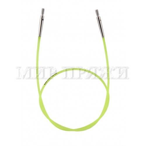 Тросик зеленый для съемных спиц длина 35 см (60 см со спицами), KnitPro